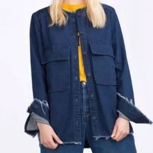 HP🎉Zara Frayed Denim Jacket
